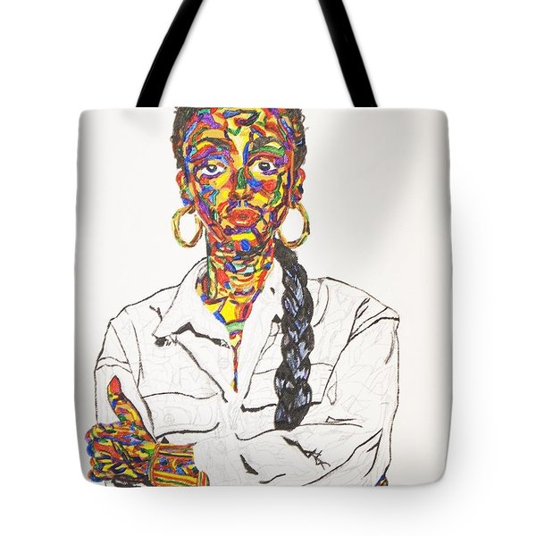 Tote Bag featuring the painting Abstract Sade  by Stormm Bradshaw