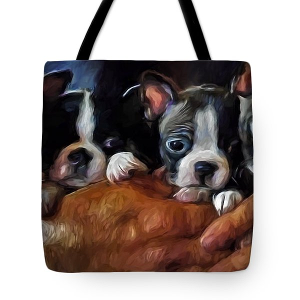 Safe In The Arms Of Love - Puppy Art Tote Bag