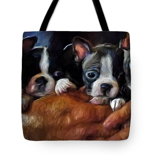 Safe In The Arms Of Love - Puppy Art Tote Bag by Jordan Blackstone