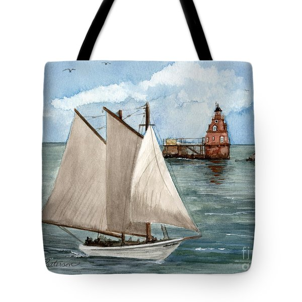 Tote Bag featuring the painting Safely Past The Shoal  by Nancy Patterson