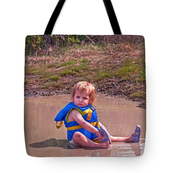 Tote Bag featuring the photograph Safety Is Important - Toddler In Mudpuddle Art Prints by Valerie Garner
