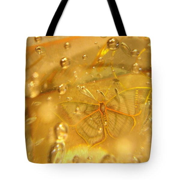 Sage Butterfly With Bubbles Tote Bag