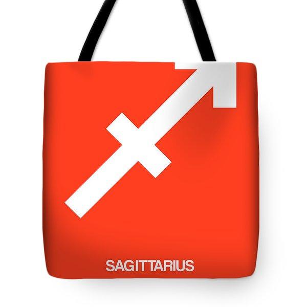 Sagittarius Zodiac Sign White On Orange Tote Bag