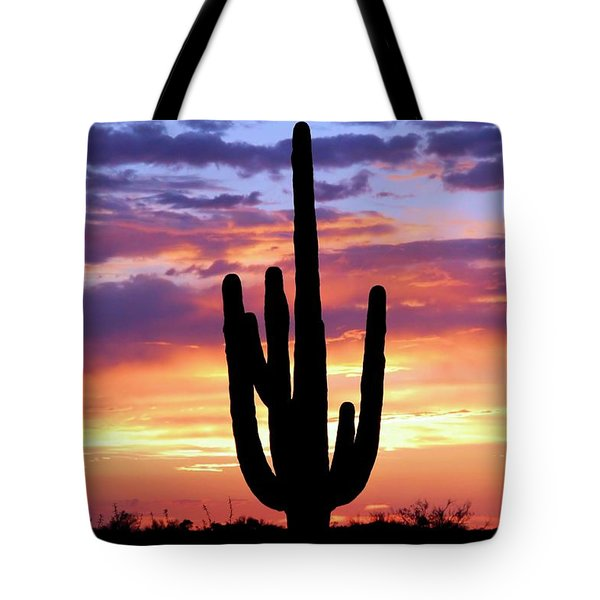 Saguaro At Sunset Tote Bag by Elizabeth Budd