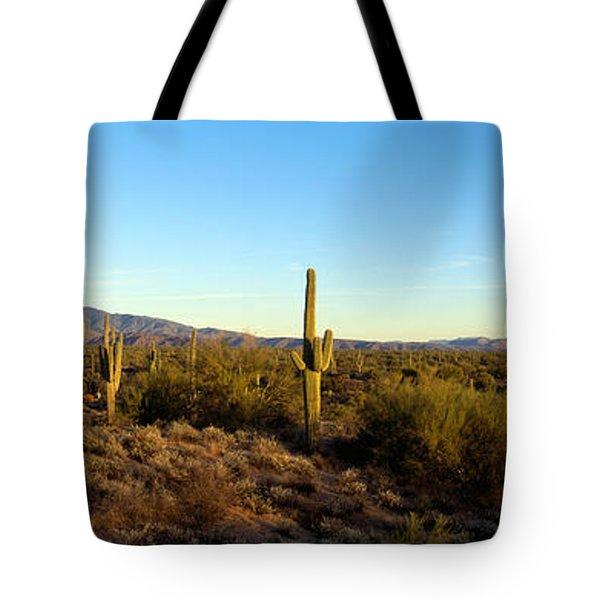 Saguaro Cacti In A Desert, Four Peaks Tote Bag