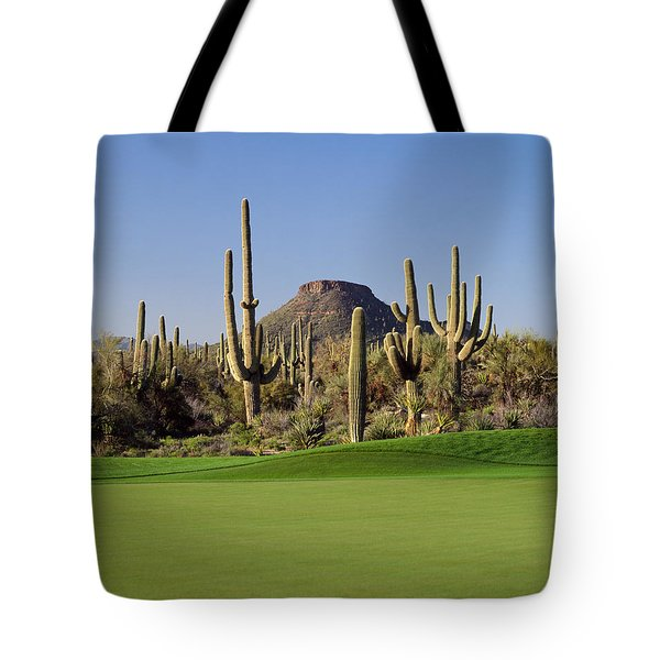 Saguaro Cacti In A Golf Course, Troon Tote Bag