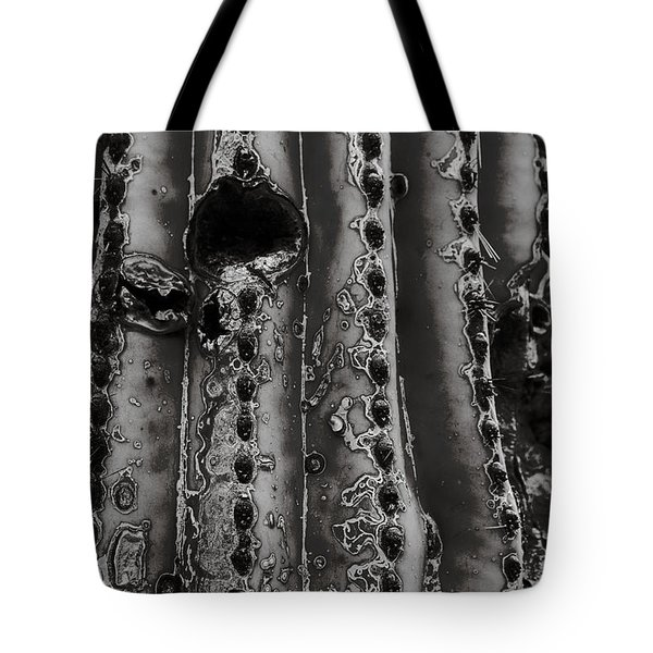 Saguaro Cactus Black And White 1 Tote Bag