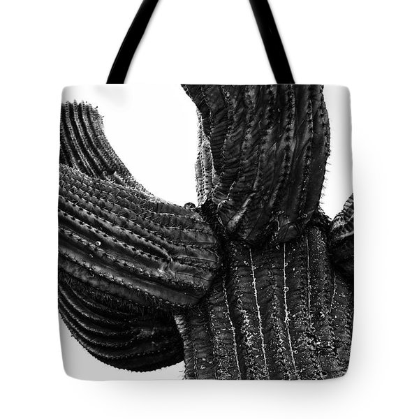 Saguaro Cactus Black And White 3 Tote Bag