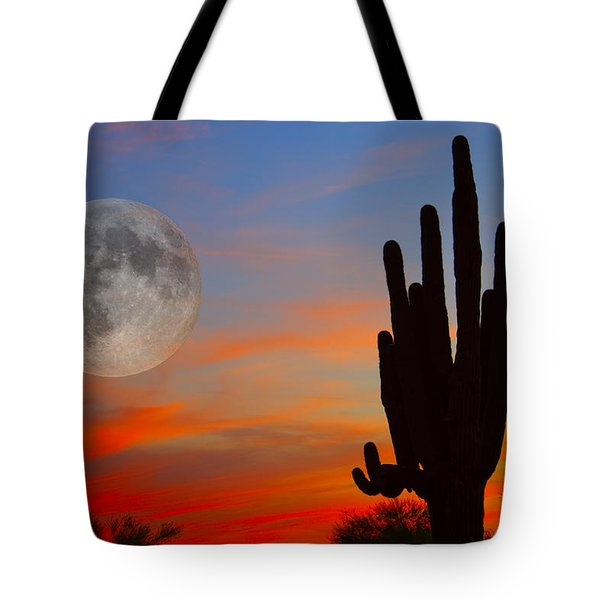 Saguaro Full Moon Sunset Tote Bag
