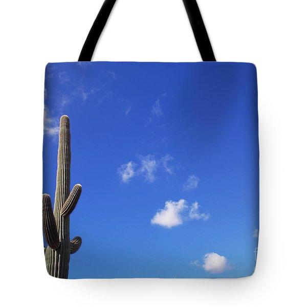 Blue Sky Saguaro  And Clouds Tote Bag