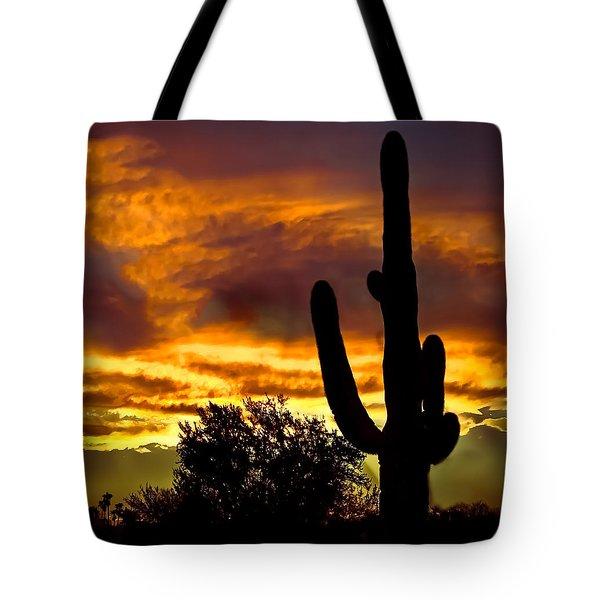 Saguaro Silhouette  Tote Bag by Robert Bales