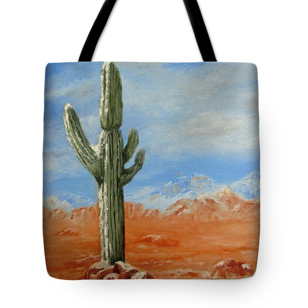 Saguaro In Snow Tote Bag by Roseann Gilmore
