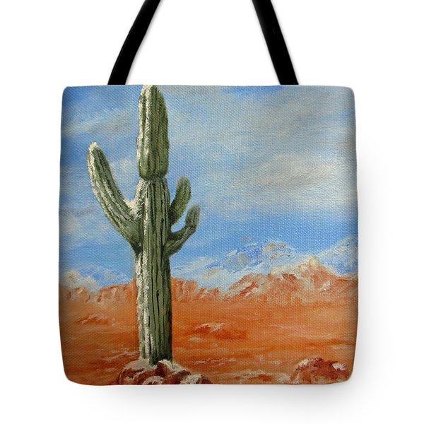 Saguaro In Snow Tote Bag