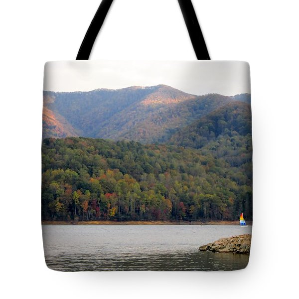 Sail Boat And Mountains Tote Bag