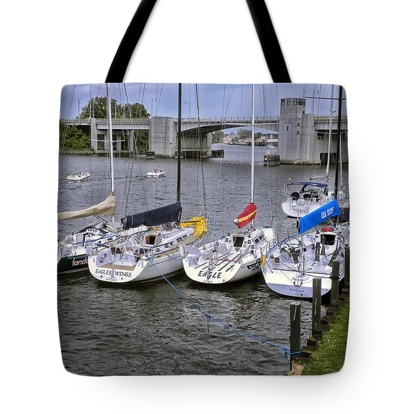 Sail Boats 4 In A Row Tote Bag by Thomas Woolworth