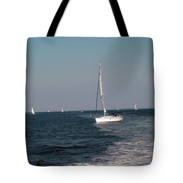Tote Bag featuring the photograph Sail Boats In Chesapeake Bay by Dorothy Maier