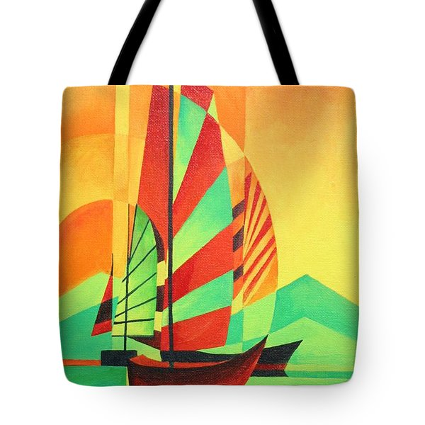 Tote Bag featuring the painting Sail To Shore by Tracey Harrington-Simpson