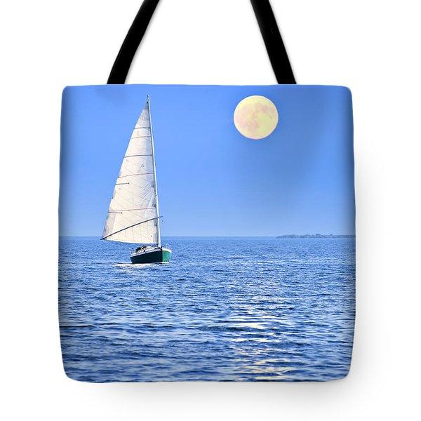 Sailboat At Full Moon Tote Bag