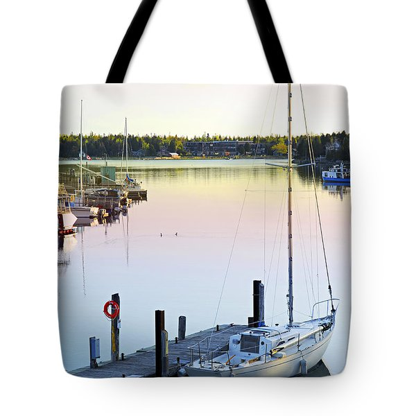 Sailboat At Sunrise Tote Bag