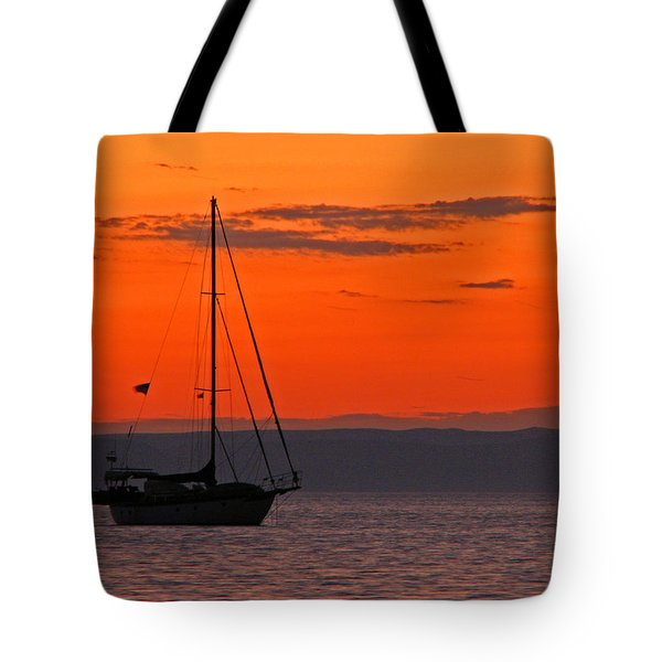 Sailboat At Sunset Tote Bag by Marcia Socolik