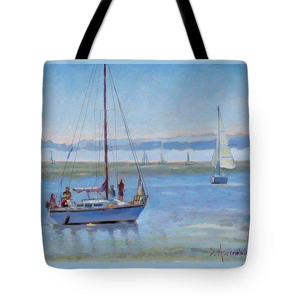 Sailboat Coming To Port Tote Bag by Dominique Amendola