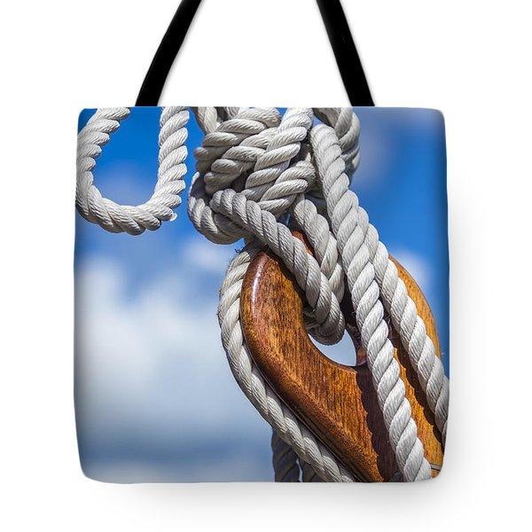 Tote Bag featuring the photograph Sailboat Deadeye 3 by Leigh Anne Meeks
