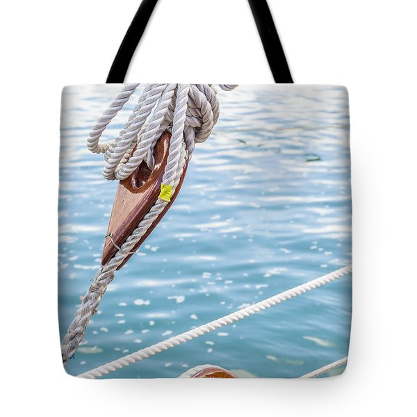 Tote Bag featuring the photograph Sailboat Deadeyes 1 by Leigh Anne Meeks
