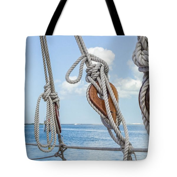 Tote Bag featuring the photograph Sailboat Deadeyes 2 by Leigh Anne Meeks