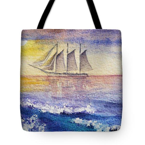 Sailboat In The Ocean Tote Bag by Irina Sztukowski