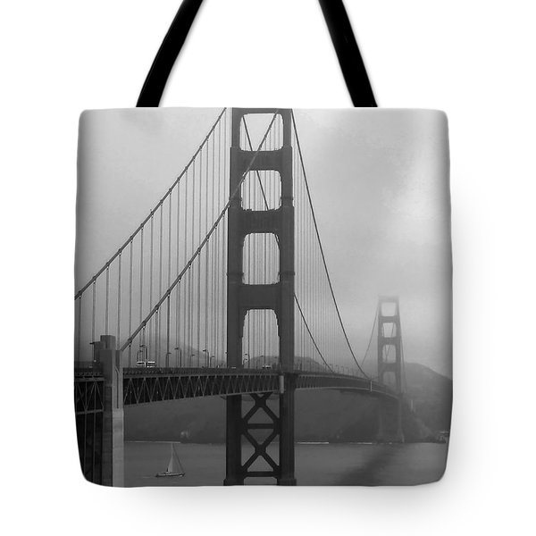Sailboat Passing Under Golden Gate Bridge Tote Bag by Connie Fox
