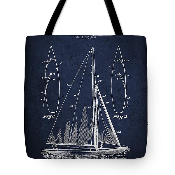 Sailboat Patent Drawing From 1927 Tote Bag