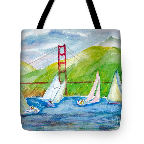 Sailboat Race At The Golden Gate Tote Bag