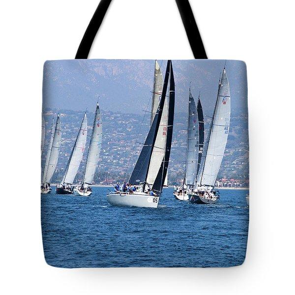 Sailboat Race In The Pacific Ocean Tote Bag