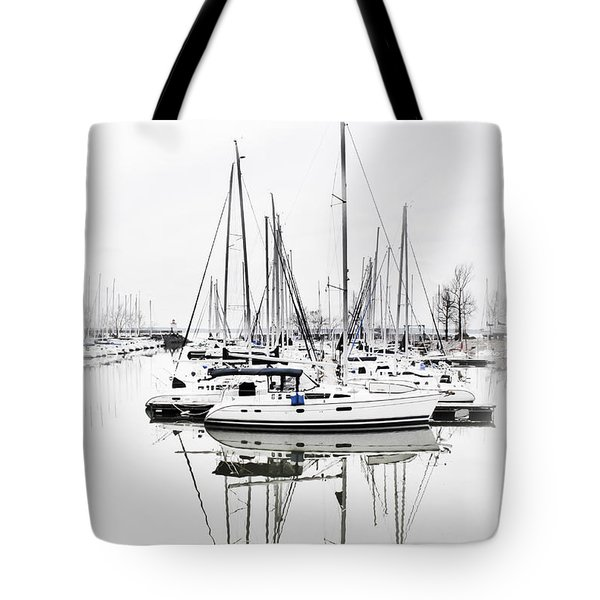 Sailboat Row With Touches Of Blue Tote Bag