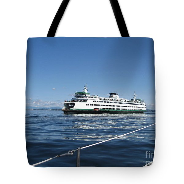 Sailboat Sees Ferryboat Tote Bag by Kym Backland