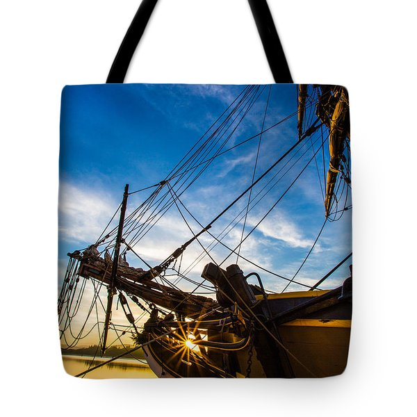 Sailboat Sunrise Tote Bag by Robert Bynum