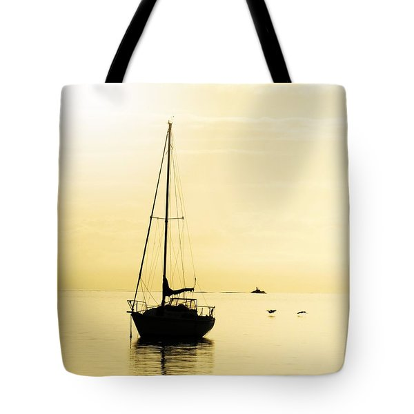 Sailboat With Sunglow Tote Bag by Barbara Henry