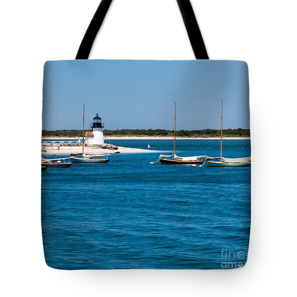 Sailboats And Brant Point Lighthouse Nantucket Tote Bag