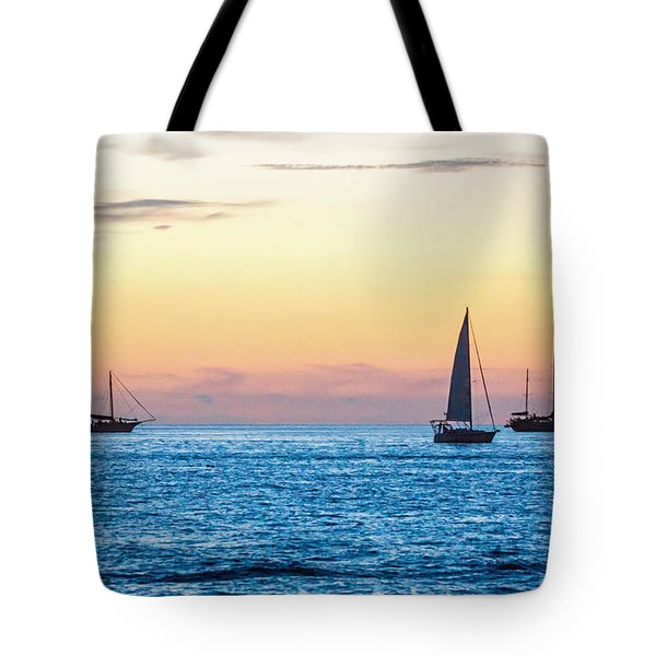 Sailboats At Sunset Off Key West Florida Tote Bag by Photographic Arts And Design Studio