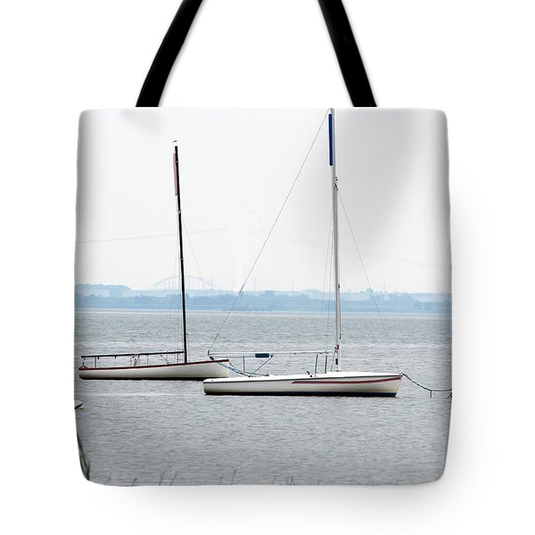 Sailboats In Battery Park Harbor Tote Bag by David Jackson