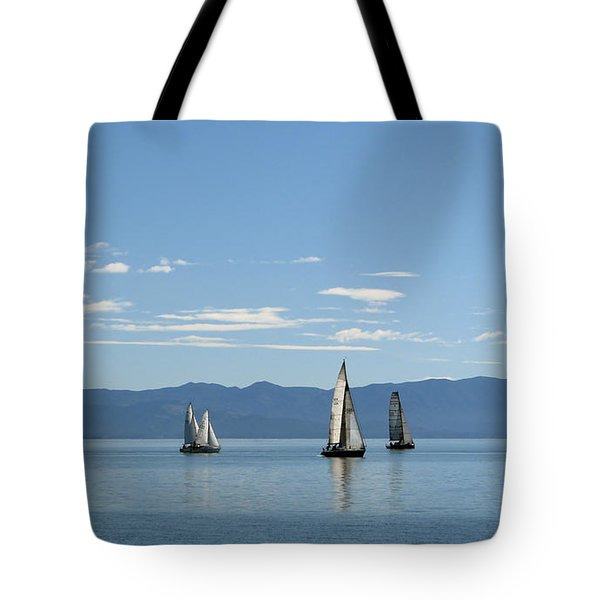 Sailboats In Blue Tote Bag