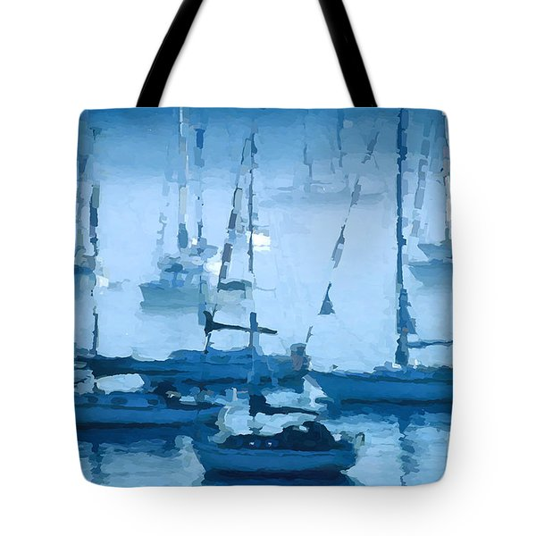 Sailboats In The Fog II Tote Bag