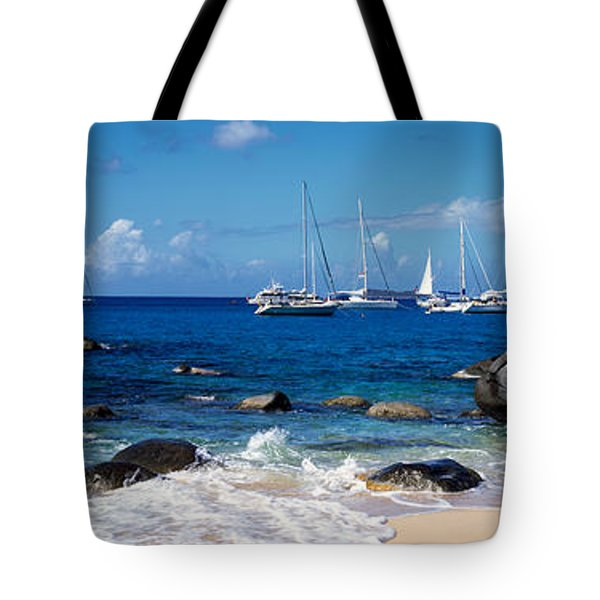 Sailboats In The Sea, The Baths, Virgin Tote Bag by Panoramic Images