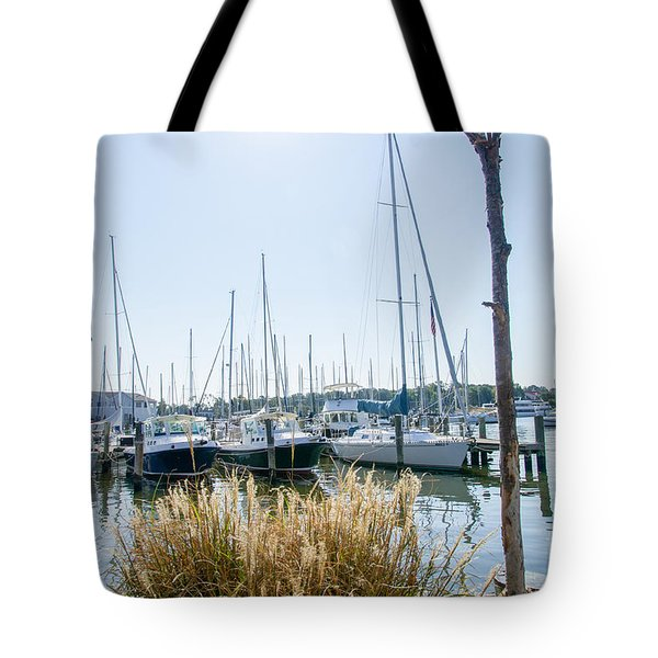 Sailboats On Back Creek Tote Bag
