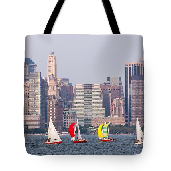 Sailboats On The Hudson I Tote Bag by Clarence Holmes