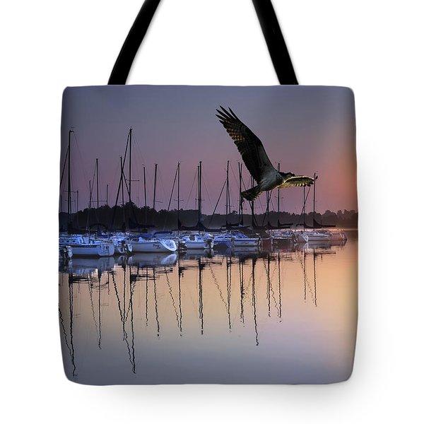 Sailboats Osprey Sunrise Tote Bag by Randall Branham
