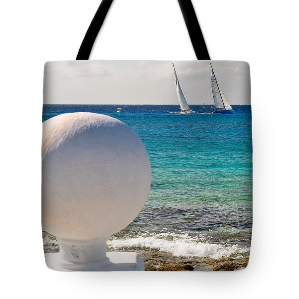 Sailboats Racing In Cozumel Tote Bag