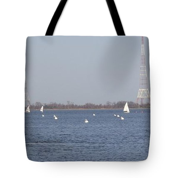 Sailboats With Chesapeake Bay Bridge Beyond Tote Bag by Christina Verdgeline