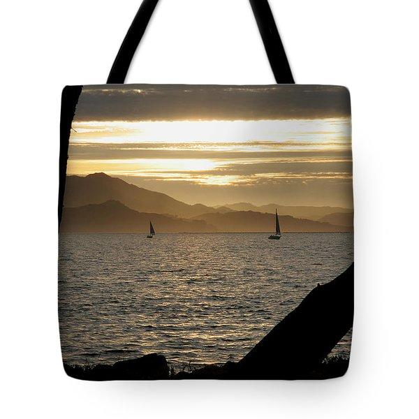 Sailing At Sunset On The Bay Tote Bag by Robert Woodward
