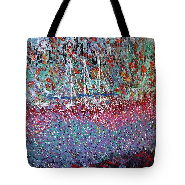 Sailing Among The Flowers Tote Bag